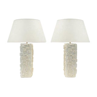 Pair of French Contemporary Carved Plaster Square Column Lamps