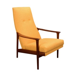 Vintage Danish Mid Century Modern Teak High Back Lounge Chair