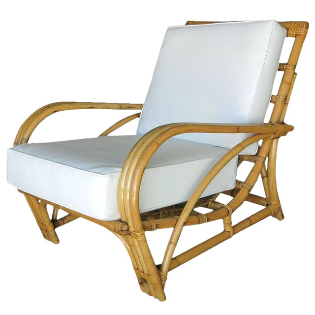 """Restored Three-Strand """"1940s Transition"""" Rattan Lounge Chair For Sale"""