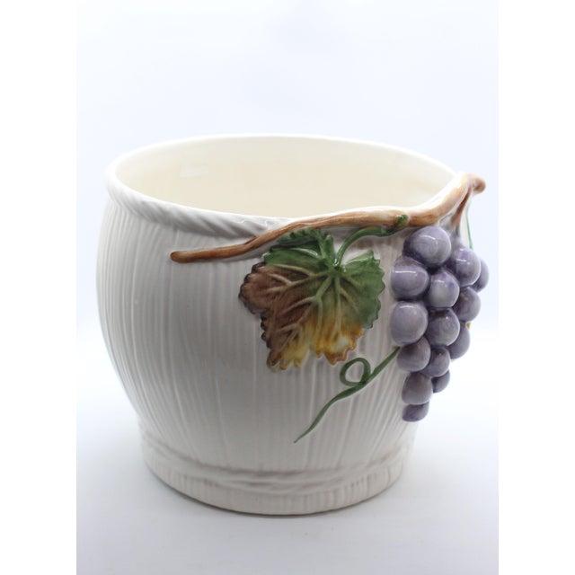 "Mediterranean Majolica Glazed Ceramic Grapevine ""Vineyard"" Cachepot/ Wine Cooler For Sale - Image 3 of 7"