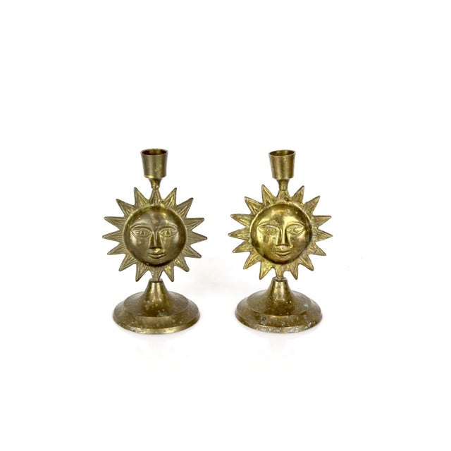"""Lovely pair of solid brass candle holder some wear, vintage condition Dimensions; 4""""Width x 3.5""""Depth x 7""""Height If you..."""