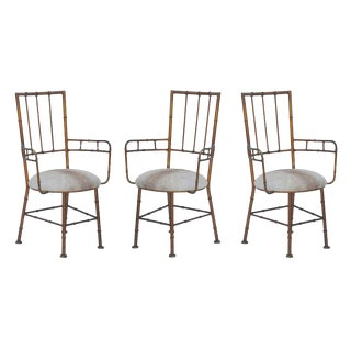1950s Vintage Iron and Calf Hide Armchairs- Set of 3 For Sale
