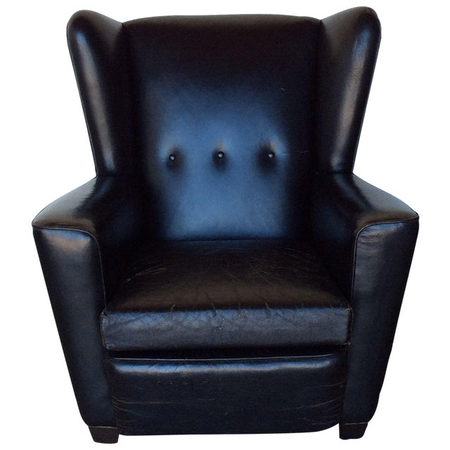 Vintage Black Leather Wing Chair - Image 1 of 7