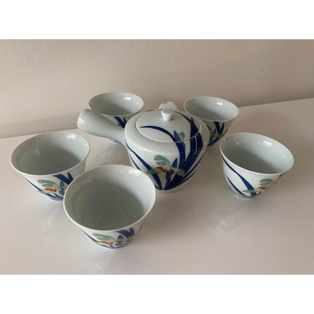 Mid century, five cup tea set with orchid design. Believed to be Imaizumi Imaemon. Colored Nabeshima ware, high quality...