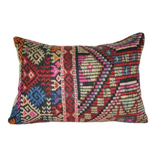 Handmade Jajim Lumbar Pillow Cover, Wool on Wool Embroidery Bolster Lumbar Kilim Pillow 14'' X 20'' (35 X 50 Cm) For Sale