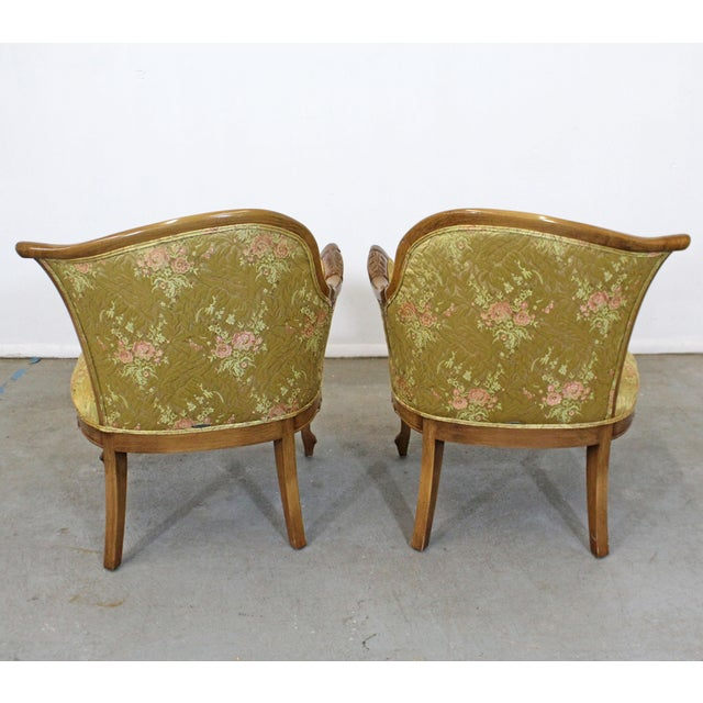 Pair of Vintage French Tufted Fireside Ladies Parlor Arm Chairs For Sale In Philadelphia - Image 6 of 13
