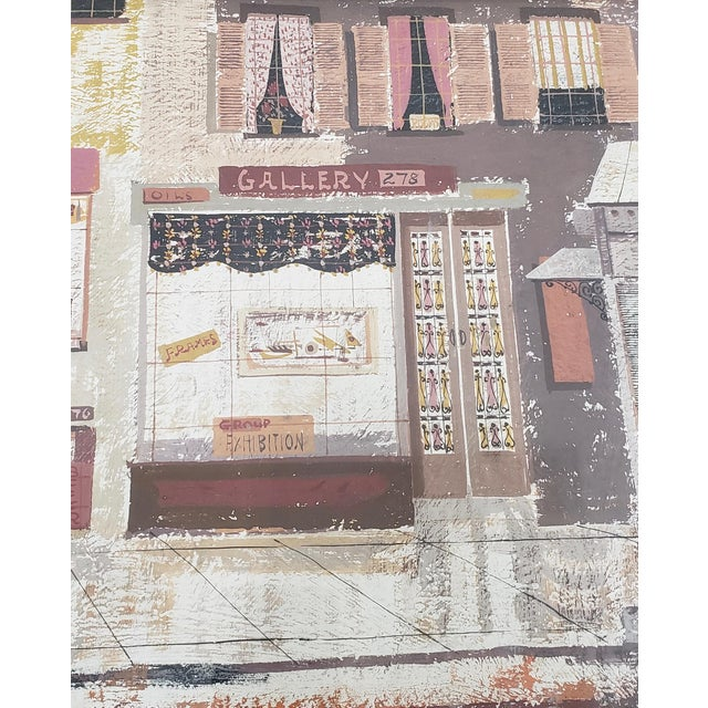 "Margaret Layton ""Parker Street"" New York City Gouache Painting on Board C.1950s For Sale In San Francisco - Image 6 of 10"
