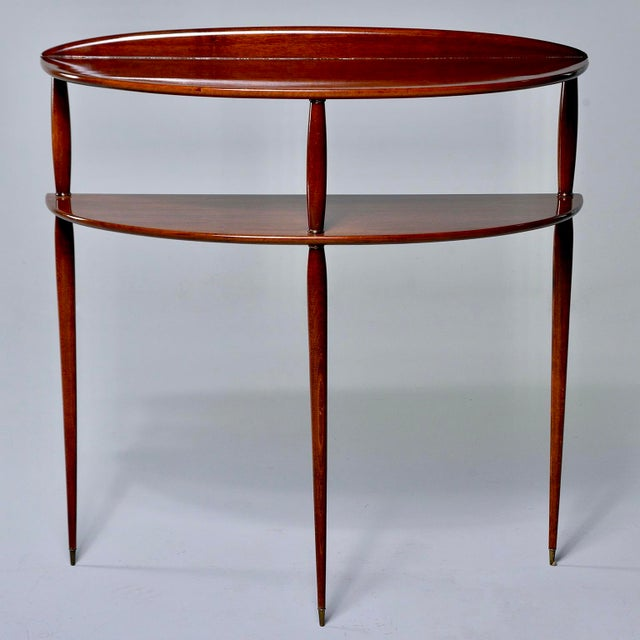 Mid Century Palisander Demilune Two Shelf Console Table For Sale - Image 11 of 11