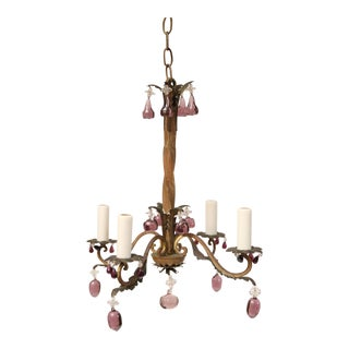 French Vintage Iron and Crystal Chandelier For Sale