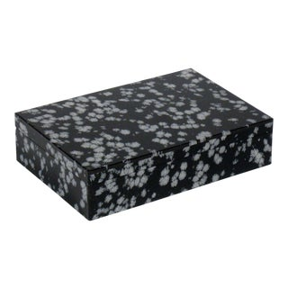 1960's Vintage Italian Lapidary Stone Snowflake Obsidian Box For Sale