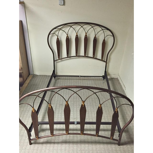 Native American Inspired Metal Wood Leather Full Bed - Image 6 of 10