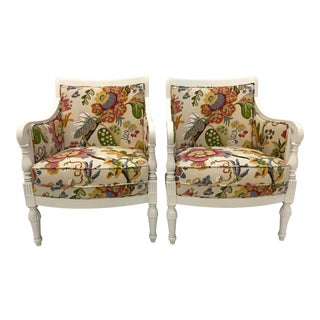 20th Century Pair Chairs Floral Pattern Cottage Style Painted Frames For Sale
