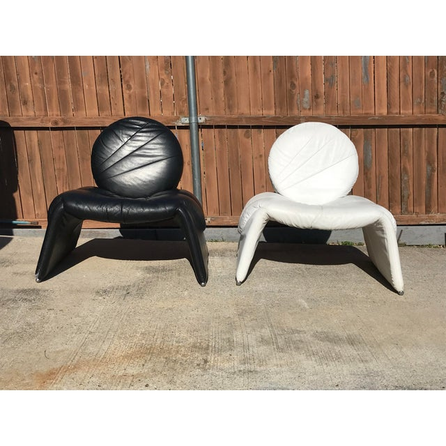 Black and White Vintage Leather Italian Lounge Chairs - a Pair For Sale - Image 12 of 12