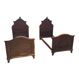 Pair of Carved French Twin Beds Walnut For Sale