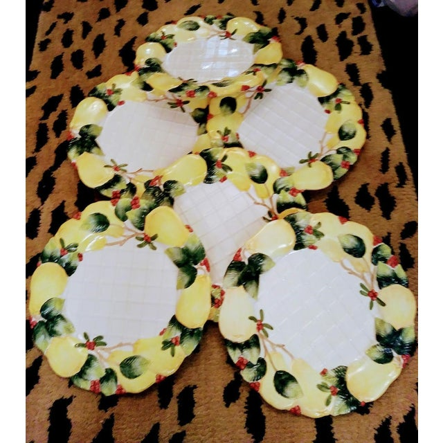 Transitional 6 Piece Vintage Fitz and Floyd Large Holiday Christmas Embossed Pear Lattice Platter Plates Dishes For Sale - Image 3 of 7