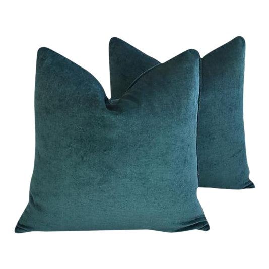 Aqua Marine Green/Turquoise Velvet Feather & Down Pillows - a Pair For Sale - Image 13 of 13