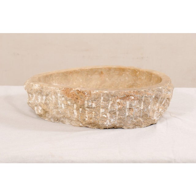 Natural Carved Onyx Sink Basin in Taupe Color For Sale In Atlanta - Image 6 of 12