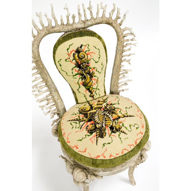 White Fantasy Shell and Coral Chair With Embroidered Pillow For Sale - Image 12 of 13