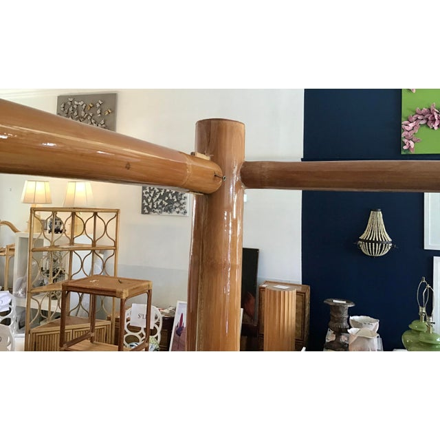 Vintage Boho Chic King Size Bamboo Canopy Bedframe For Sale - Image 9 of 12