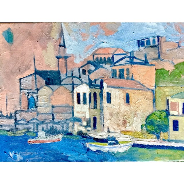"""Mediterranean Harbor"" Original Oil Painting - Image 3 of 3"