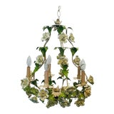 Image of Italian Floral Hand Painted Tole Porcelain Chandelier For Sale