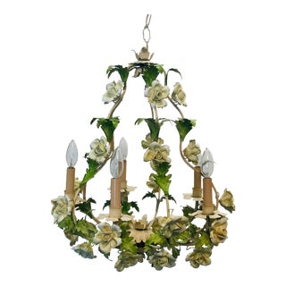 Italian Floral Hand Painted Tole Porcelain Chandelier For Sale