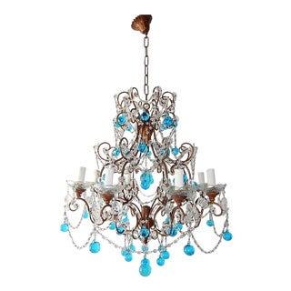 French Blue Murano Balls Beaded Swags Chandelier, circa 1900 For Sale