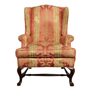 Queen Anne Style Mahogany Custom Upholstered Wing Chair For Sale