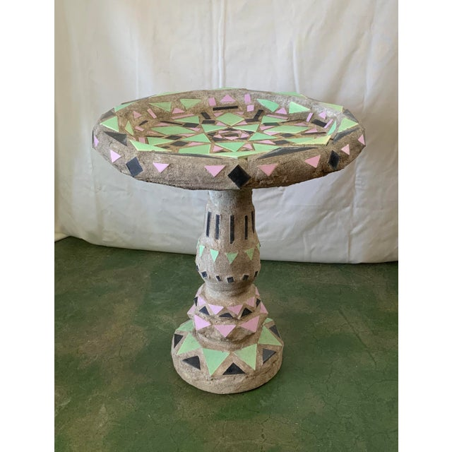 Known as an End of Day Malibu Tile Birdbath, this piece is sure to get all the birds attention. Mint green, pink and black...