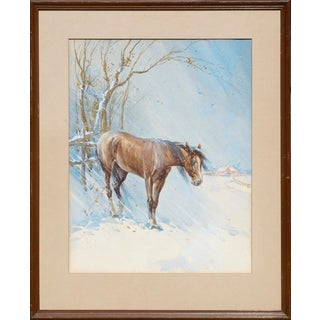 William Ernest Smyth Horse in Winter - Landscape Circa 1960s For Sale