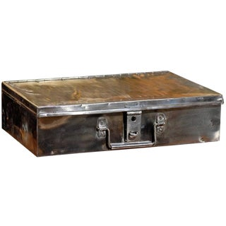 English Burnished Steel Trunk or Box with Handles from the Turn of the Century