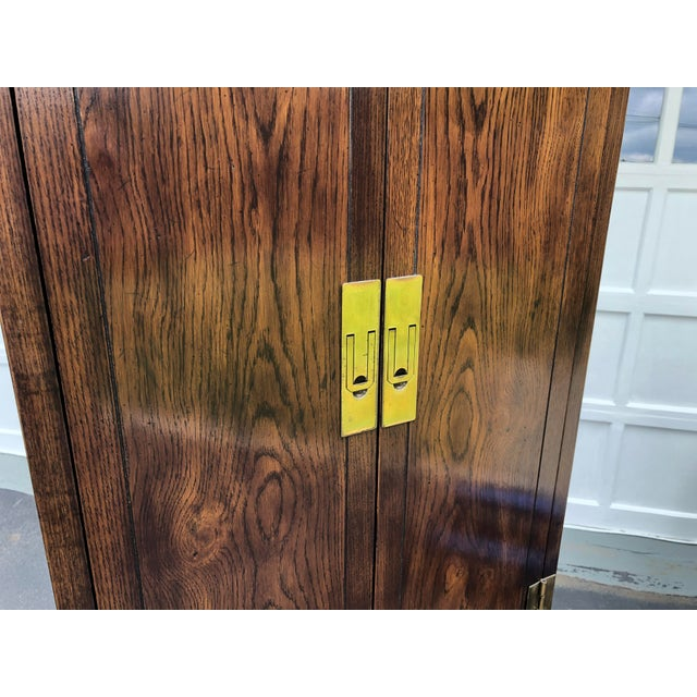 Wood Henredon Scene One Campaign Style Armoire Cabinets 1980s - a Pair For Sale - Image 7 of 12