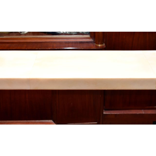 Mid-Century Modern Waterfall Parchment Console Table For Sale - Image 3 of 12