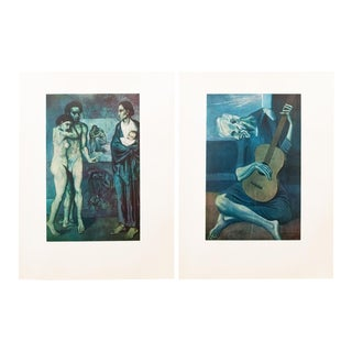 1950s Picasso, First Edition Blue Epoch Period Lithographs - a Pair For Sale