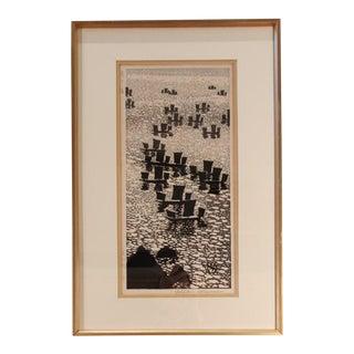 1950s Vintage Okuyama, Gihachiro Japanese Woodblock Print For Sale
