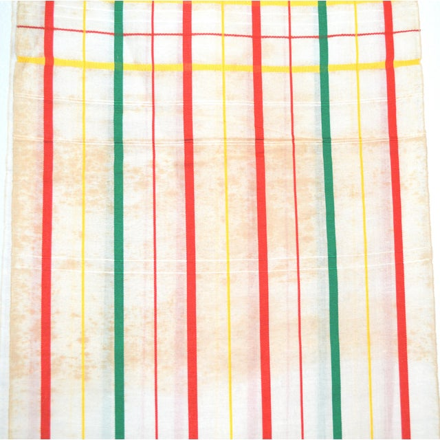 White, Red & Green Japanese Linen Kimono Obi Cheques Antique For Sale - Image 4 of 10