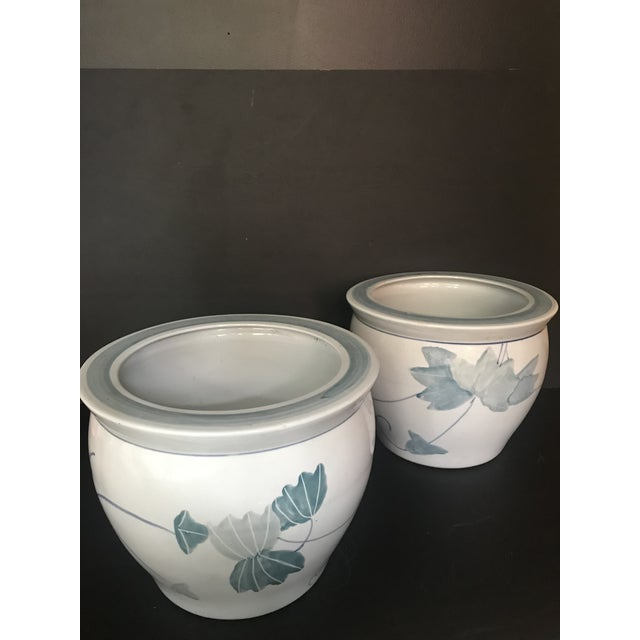 Pair of Chinese Blue & White Ceramic Leaf Planters For Sale - Image 13 of 13