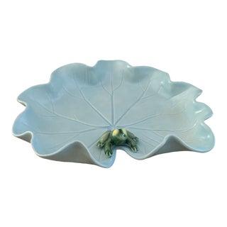 Vintage Signed Sky Blue Ceramic La Shack Lily Pad With Frog For Sale