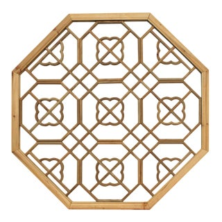 Chinese Raw Wood Octagon Flower Geometric Pattern Wall Panel