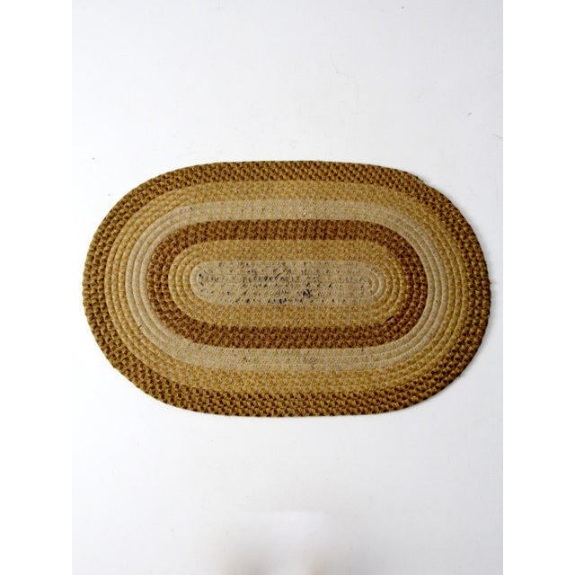 Rustic Vintage Braided Wool Accent Rug For Sale - Image 3 of 8