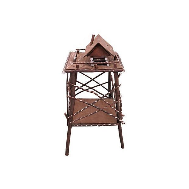 Americana Twig Side Table w/Cabin For Sale - Image 3 of 6