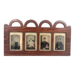 Antique Hand-Carved Folk Art Quadruple Hanging Frame For Sale