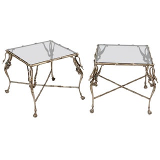 Stylized Pair of End Tables For Sale
