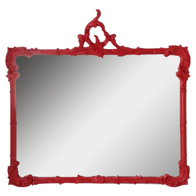 Antique French Red Lacquered Mirror - Image 1 of 11