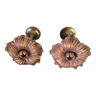 Houles Gilt Wooden Rosette Tieback -- A Pair