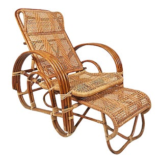Rattan Reclining Lounge Chair With Ottoman For Sale