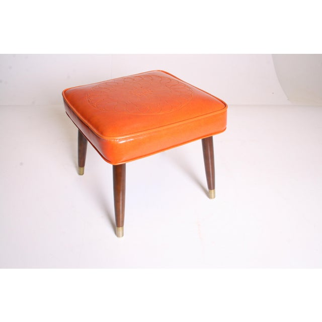 Mid Century Modern Orange Vinyl Foot Stool - Image 8 of 11