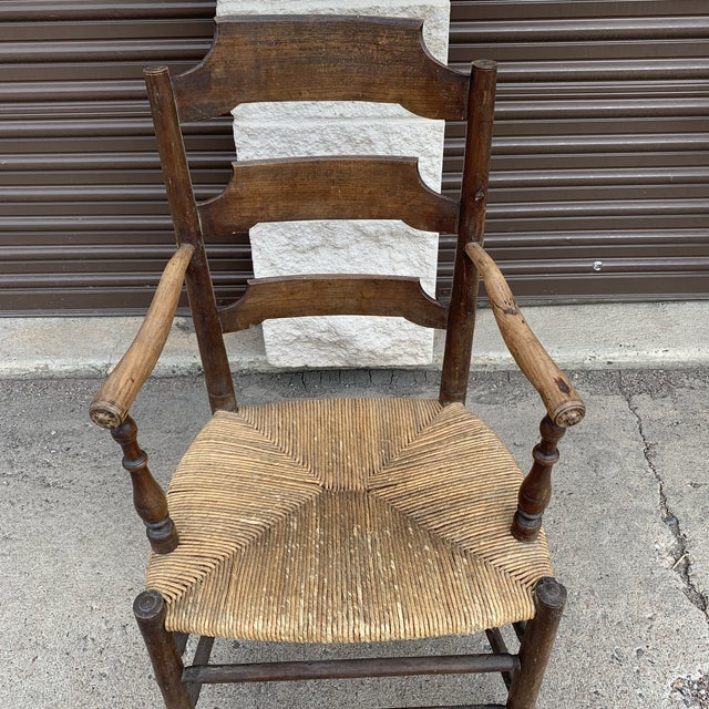 Early 19th Century Early 19th Century French Ash Wood Rush Seat Armchair For Sale - Image 5 of 11