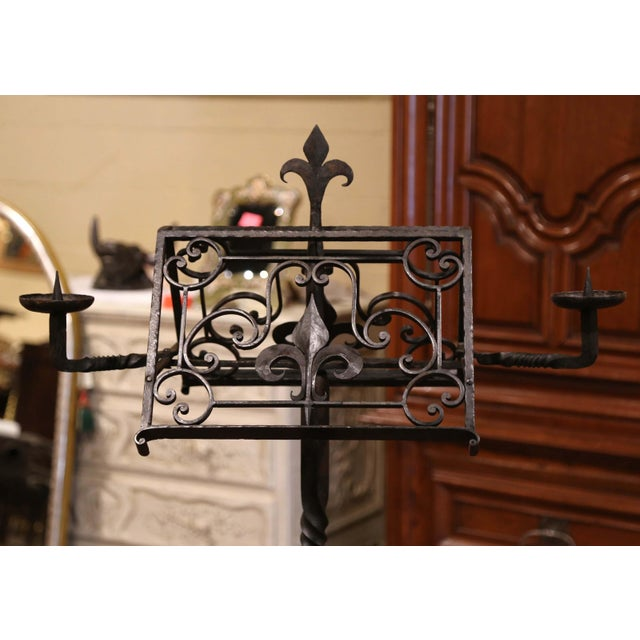 19th Century French Two-Side Forged Iron Music Stand Lectern With Fleur-De-Lys For Sale - Image 4 of 8