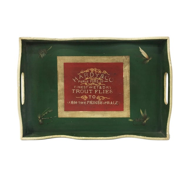 1980s Vintage English Green Rectangular Wooden Tray For Sale - Image 5 of 5